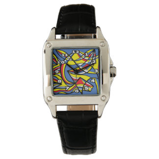 """Gaskill"" Square Black Leather Watch"