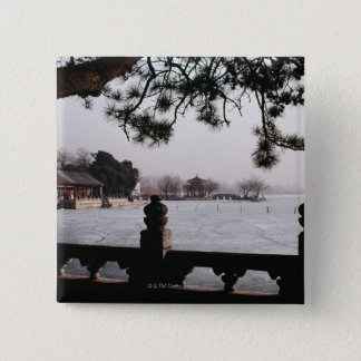 Gate and foliage by frozen lake, China 15 Cm Square Badge