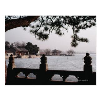 Gate and foliage by frozen lake, China Postcard