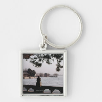 Gate and foliage by frozen lake, China Silver-Colored Square Key Ring