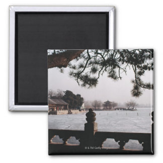 Gate and foliage by frozen lake, China Square Magnet