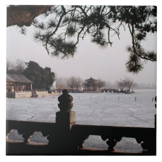 Gate and foliage by frozen lake, China Tile