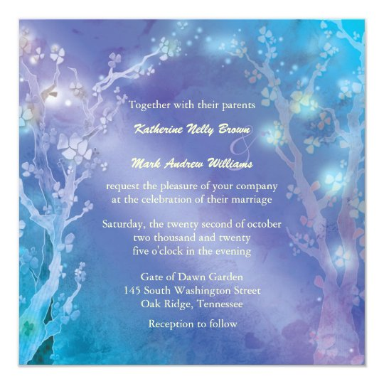 Gate of Dawn Shimmering Blue Wedding 13 Cm X 13 Cm Square Invitation Card