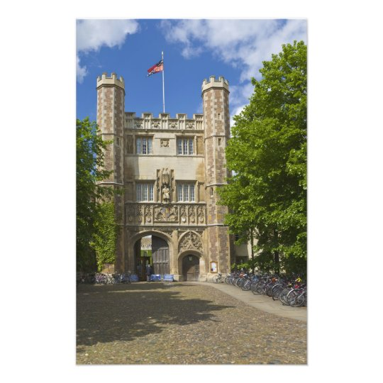 Gate to Trinity College and rows of bicycles, Photographic Print