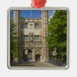 Gate to Trinity College and rows of bicycles, Silver-Colored Square Decoration