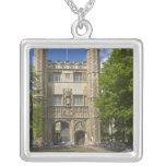 Gate to Trinity College and rows of bicycles, Square Pendant Necklace