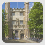 Gate to Trinity College and rows of bicycles, Square Sticker