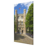 Gate to Trinity College and rows of bicycles, Stretched Canvas Print