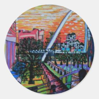 Gateshead Millennium Bridge from Newcastle Classic Round Sticker