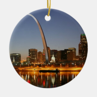 Gateway Arch St. Louis Mississippi at Night Round Ceramic Decoration