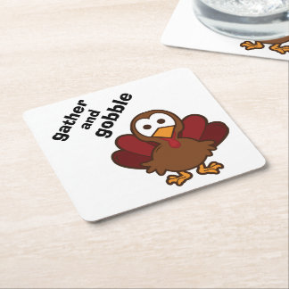 GATHER and GOBBLE Turkey Thanksgiving Coasters