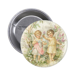 Gather - Two Angels Gathering Flowers 6 Cm Round Badge