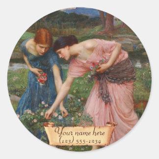"""Gather Ye Rosebuds"" Pre-Raphaelite Bookplate Classic Round Sticker"