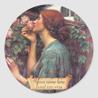 """Gather Ye Rosebuds"" Pre-Raphaelite Bookplate Round Sticker"