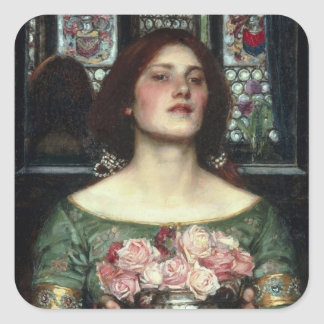'Gather Ye Rosebuds While Ye May' John William Wat Square Sticker