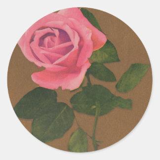 Gather Ye Rosebuds While Ye May  Vintage Postcard Round Sticker