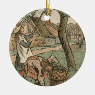 Gathering Apples, from 'Travaux des Champs', engra Round Ceramic Decoration