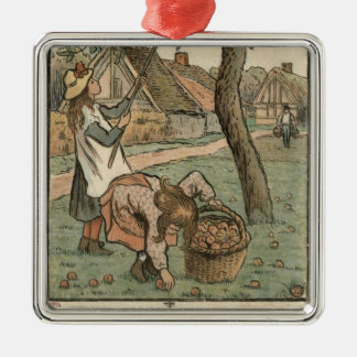 Gathering Apples, from 'Travaux des Champs', engra Silver-Colored Square Decoration