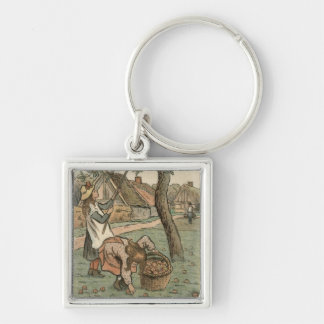 Gathering Apples, from 'Travaux des Champs', engra Silver-Colored Square Key Ring