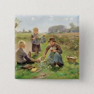 Gathering Flowers (oil on canvas) 15 Cm Square Badge