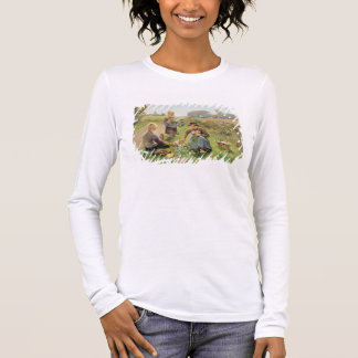 Gathering Flowers (oil on canvas) Long Sleeve T-Shirt