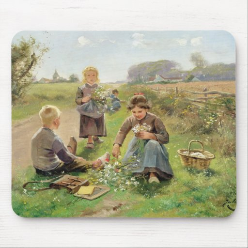 Gathering Flowers (oil on canvas) Mouse Pads