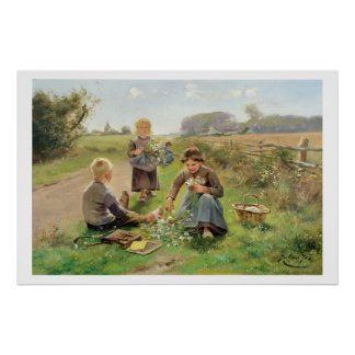 Gathering Flowers (oil on canvas) Poster