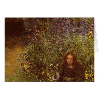 Gathering Pansies by Laura Teresa Alma-Tadema Greeting Card