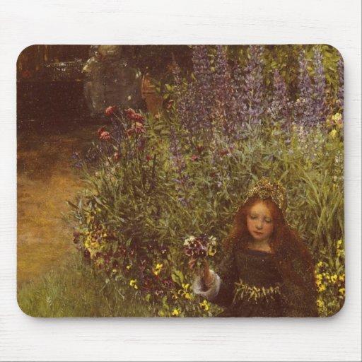 Gathering Pansies by Laura Teresa Alma-Tadema Mousepad