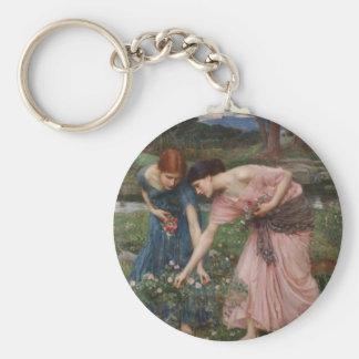 Gathering Rosebuds by John William Waterhouse Keychain