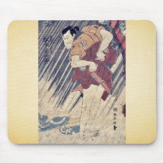 Gathering salt by Katsukawa, Shunsen Ukiyoe Mouse Pad