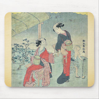 Gathering tea leaves by Suzuki, Harunobu Ukiyoe Mouse Pad