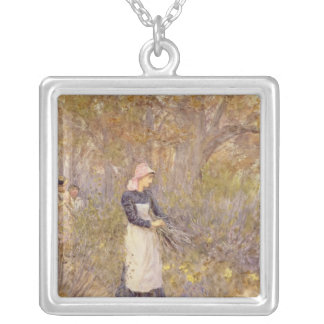 Gathering wood for mother silver plated necklace
