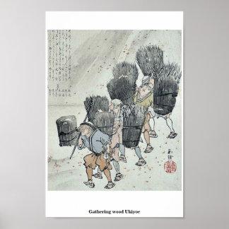 Gathering wood Ukiyoe Posters