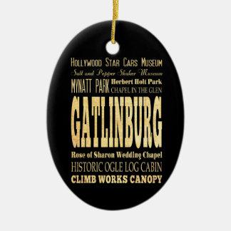 Gatlinburg City of Tennessee Typography Art Ceramic Oval Decoration