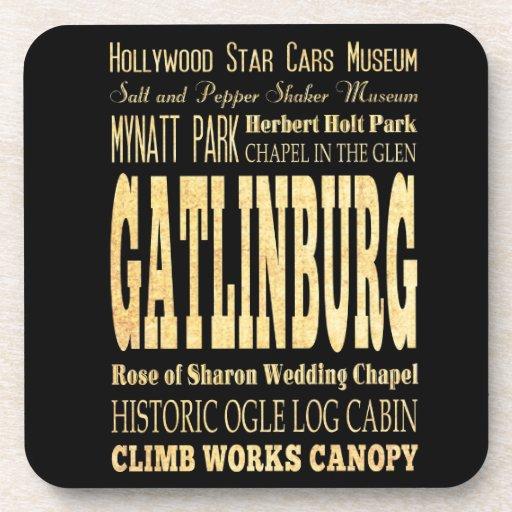 Gatlinburg City of Tennessee Typography Art Coaster