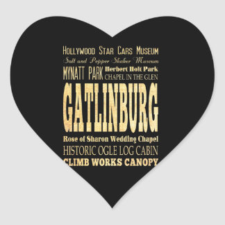 Gatlinburg City of Tennessee Typography Art Heart Sticker