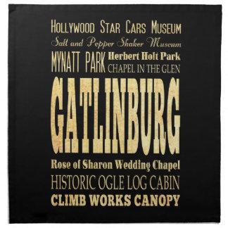 Gatlinburg City of Tennessee Typography Art Cloth Napkin