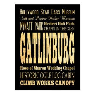Gatlinburg City of Tennessee Typography Art Postcard