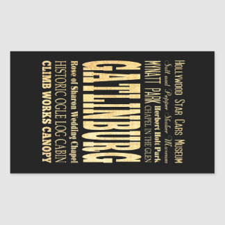Gatlinburg City of Tennessee Typography Art Rectangular Sticker