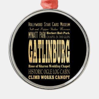Gatlinburg City of Tennessee Typography Art Silver-Colored Round Decoration