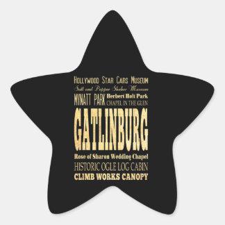Gatlinburg City of Tennessee Typography Art Star Sticker