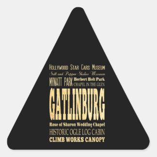 Gatlinburg City of Tennessee Typography Art Triangle Sticker