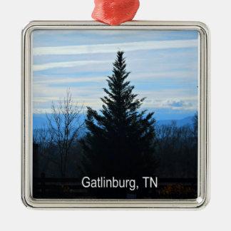 Gatlinburg, Tennessee Silver-Colored Square Decoration
