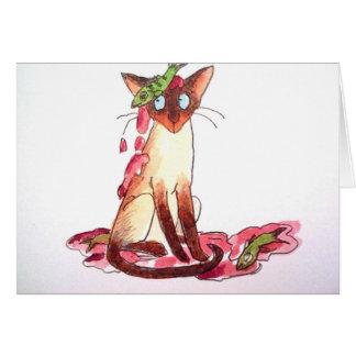 gato divertido pensativo greeting card