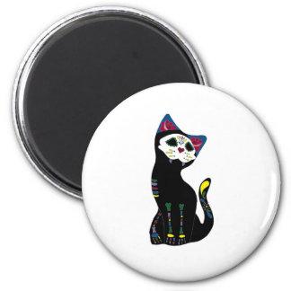 'Gato Muerto' Dia De Los Muertos Cat 6 Cm Round Magnet