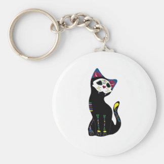 'Gato Muerto' Dia De Los Muertos Cat Basic Round Button Key Ring