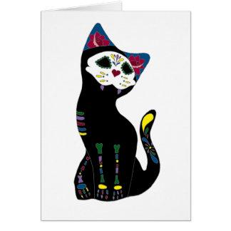 'Gato Muerto' Dia De Los Muertos Cat Greeting Card