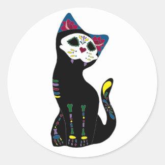'Gato Muerto' Dia De Los Muertos Cat Classic Round Sticker