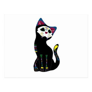 'Gato Muerto' Dia De Los Muertos Cat Post Card